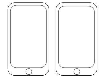 smartphone outline template vector wireframe contour of modern ...