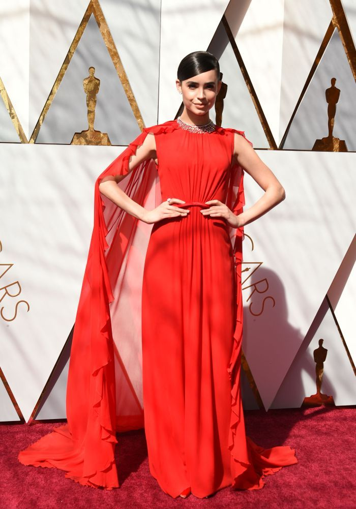 Oscars 2018 Every Red Carpet Gown Sofia Carson Wears With Embellished Neck And Slick Side Parted Pony Tail