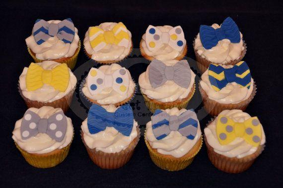 bow little man cupcake toppers by SweetTreatsSJ on Etsy, $24.00