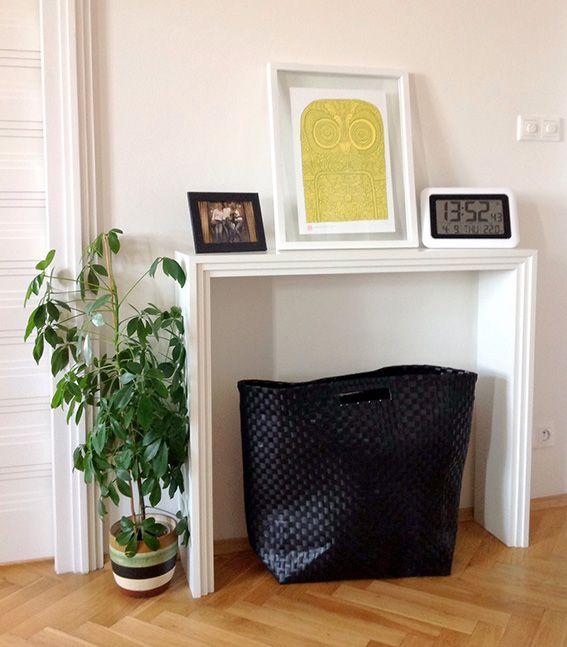 master bedroom - bespoke mantel piece with the print Geek Squeak by Supermundane