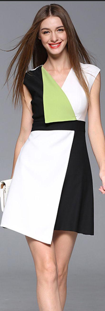 White Color Block Asymmetrical Hem Dress