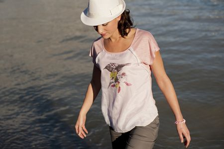 Songbird Silky Overlay Top with original bellbird artwork by West Coast creative Mary Louise Anderson: http://www.chalkydigits.co.nz/shop/summer15womens/songbird+silky+overlay+top.html