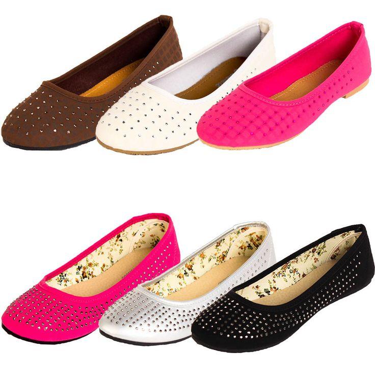 Womens Jewel & Stud Ballet Flat Slip On Casual Shoe Loafer Ballerina Slipper