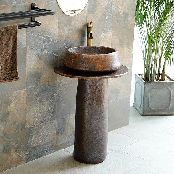 Vintage Retro 22 In 2020 Pedestal Sink Kaolin Clay Small Bathroom Sinks