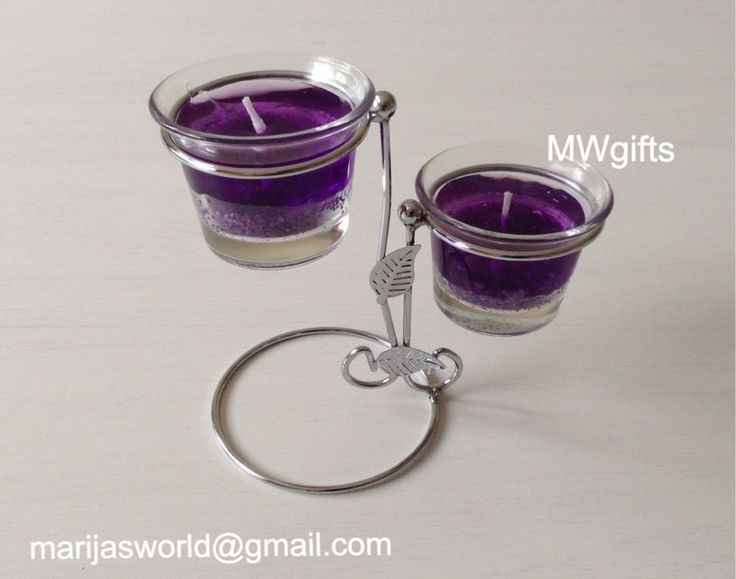 Silver Metal Candle Holder with Two Candles