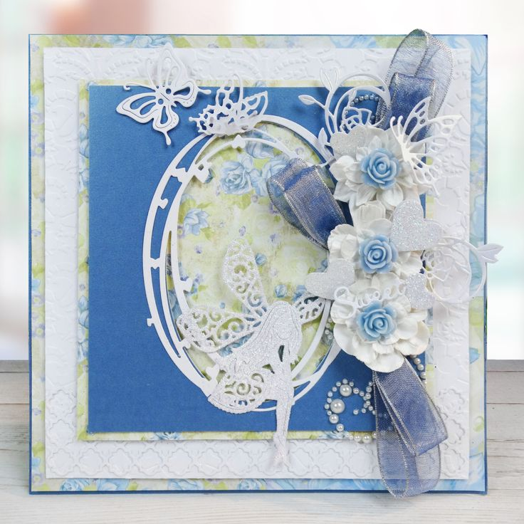Card Making Ideas Using Tattered Lace Dies Part - 25: Blue Tattered Lace Handmade Card. All Products Available At Create And Craft,  Just Click