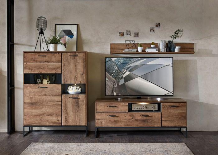 Wohnconcept Wohnwand Manhattan 3tlg Eiche Holz In 2020 Wall Unit Tv Wall Design Home Decor