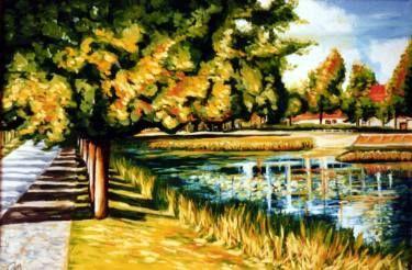 "Saatchi Art Artist Dan Civa; Painting, ""Autumn with lake in Hoersholm, Denmark"" #art"
