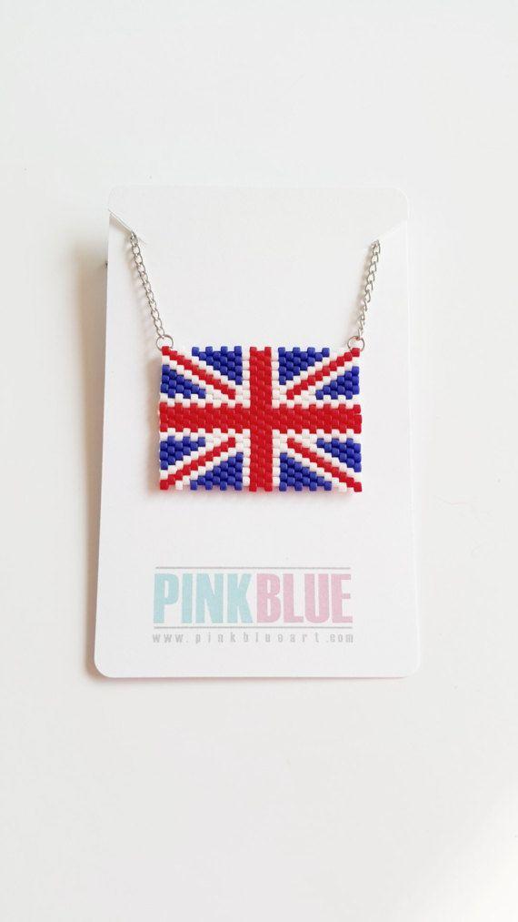British Flag Beaded Necklace - UK, United Kingdom, England, Wales, Scotland, Northern Ireland
