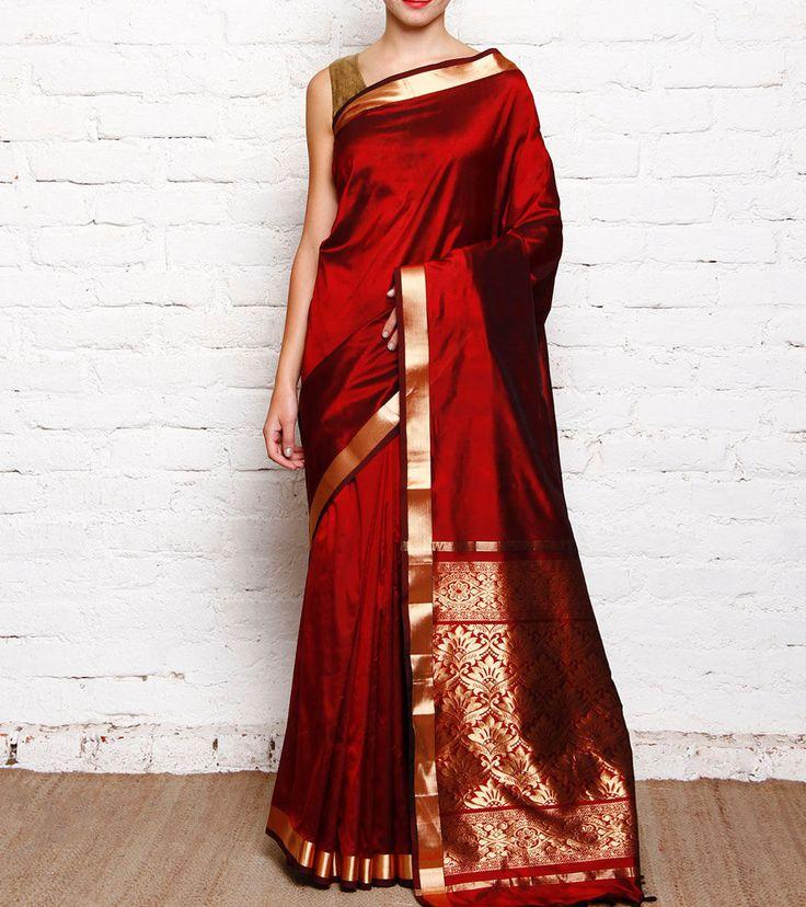 Maroon #Kanjivaram Pure #SilkSaree With Zari Work #Indianroots