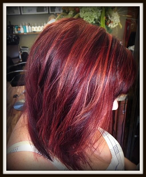 Beautiful cool red with strawberry blonde highlights. #mediumstyle #red #highlights
