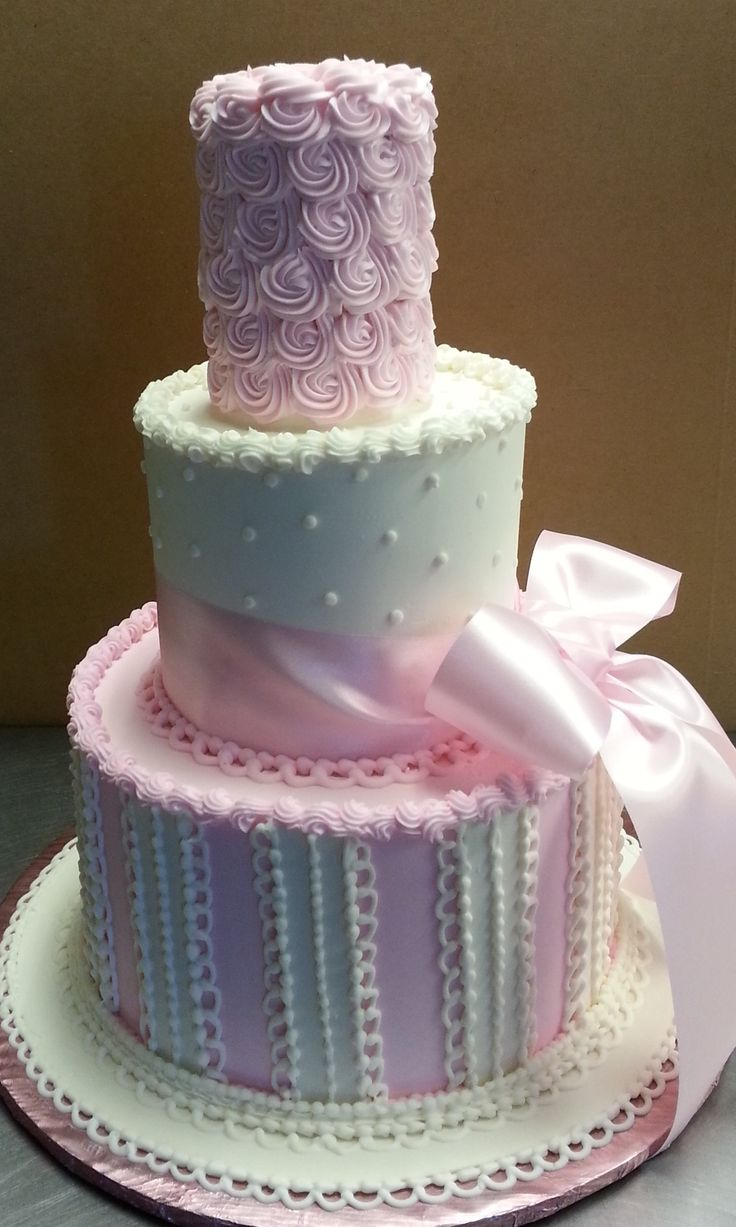 Rossette Pink and white baby shower cake