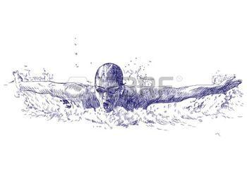 nuotatore: nuotatore disegno Archivio Fotografico