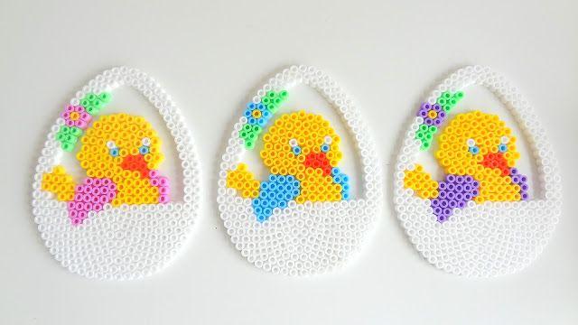 Easter eggs hama perler by Kreakuller & Krudtuglen http://www.creactivites.com/234-plaques-perles-a-repasser-midi-hama