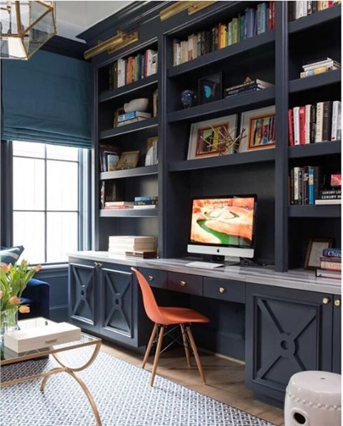 """This is a rich neutral that works well in both traditional and modern spaces. Deep navy makes a strong statement without intimidating. Gray undertones maintain sophistication and prevent this color from feeling nautical."" —Katie Hodges on Hale Navy HC-154 (via @ashleygoforth//photo: @mb_hunter)"