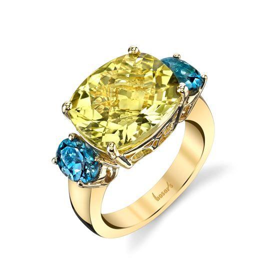 14Kt Yellow Gold Three Stone Style Cushion Lemon Quartz and Oval London Blue Topaz Ring