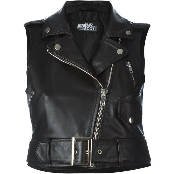 Jeremy Scott sleeveless biker jacket ($320) ❤ liked on Polyvore featuring outerwear, jackets, black, jeremy scott, rider jacket, biker jacket, no sleeve jacket and motorcycle jackets