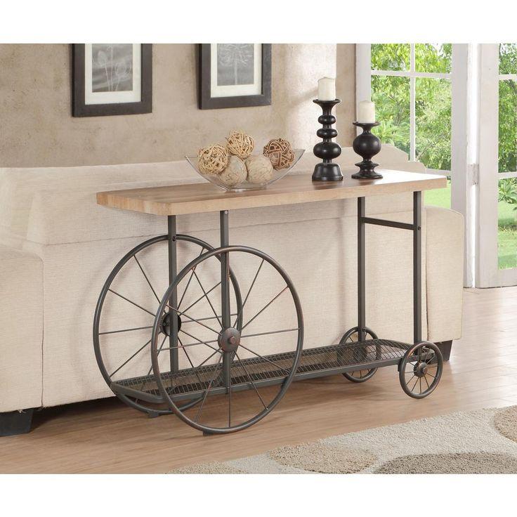 Francie Oak & Antique Gray Console Table, Brown/Antique Gray