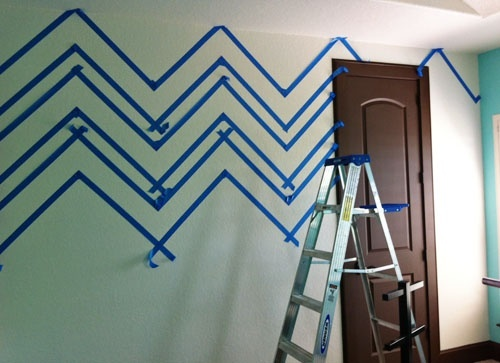 how to paint chevron walls