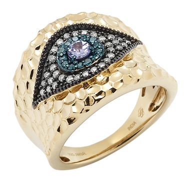 Tracey Bregman Sterling Silver 14K Yellow Gold Plate Evil Eye Gemstone Ring