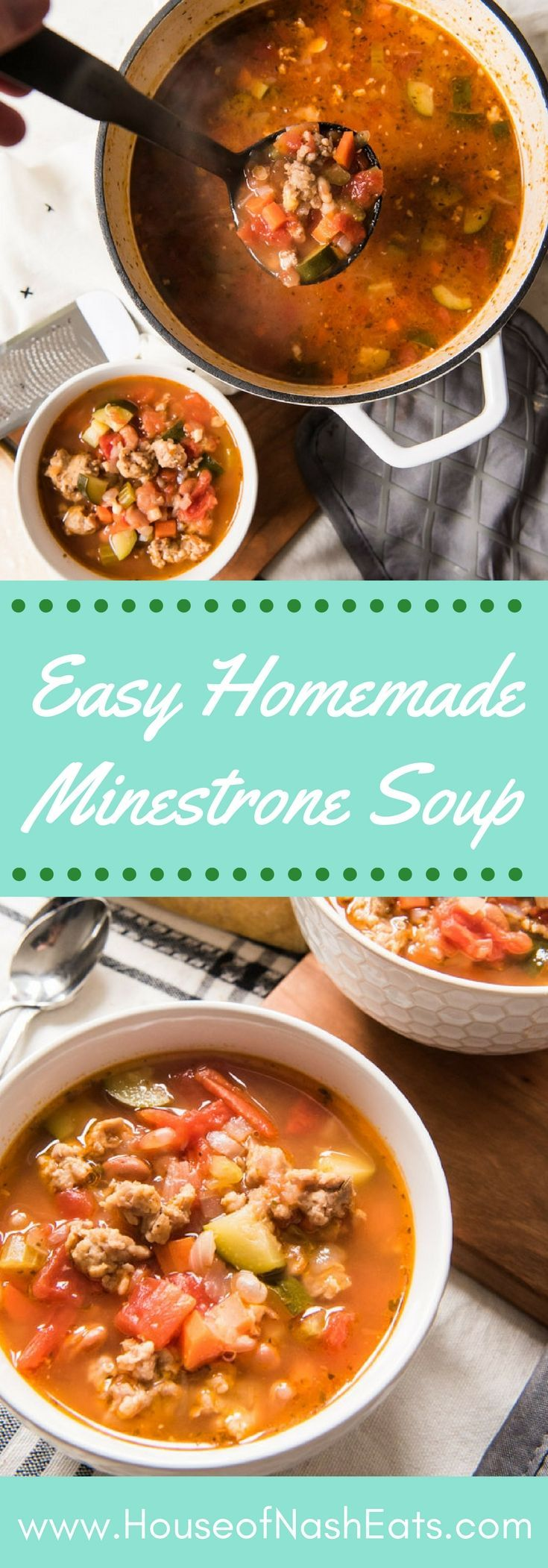 This easy minestrone soup recipe has a rich, flavorful tomato-y broth that is loaded with vegetables, Italian sausage, and beans. It's hearty, healthy (so many veggies!), and comforting, and this traditional minestrone soup can be made on the stovetop or in the crockpot. #slowcooker #crockpot #soup #minestrone #italian #sausage #beans #vegetables