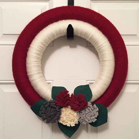 Yarn Wrapped Double Christmas Wreath available on Etsy.com