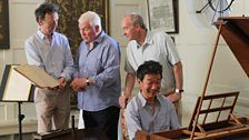 Paul Boucher (curator), Sean Rafferty and the Duke of Buccleuch with Melvyn Tan on Handel's harpsichord.