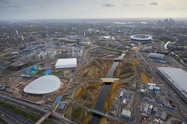 An aerial view of the Olympic Park on 3 November 2010  Picture: JASON HAWKES/BARCROFT