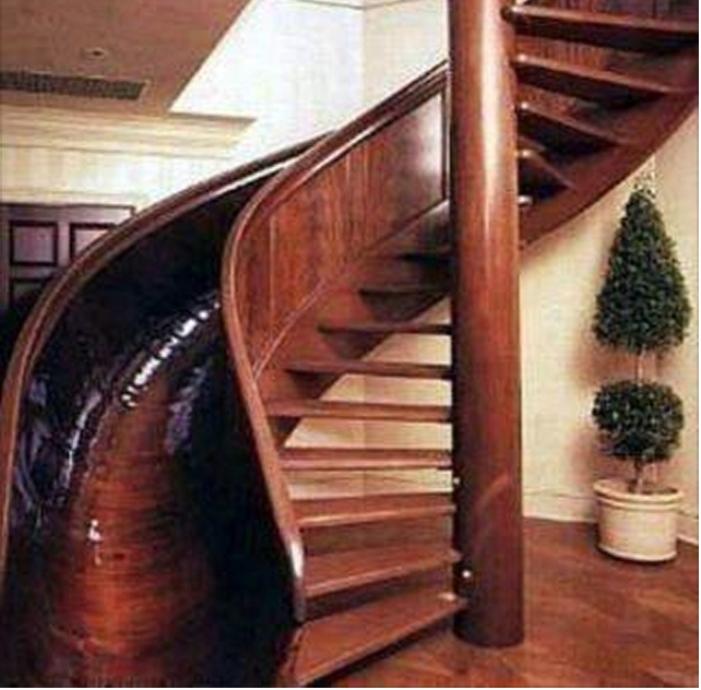 spiral staircase with slide
