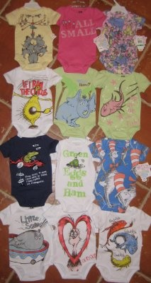 Onesies from Nordstrom's... where were these when Elijah was born? Perfect for our Dr. Seuss nursery:)