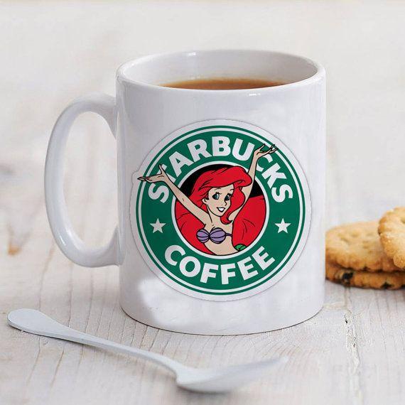 starbuck coffe disney little mermaid mug by pureinfinity on Etsy