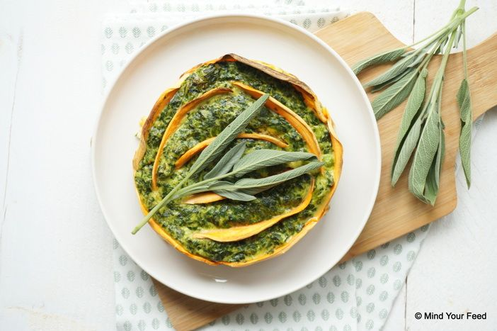 Spinazie ricotta taart - aardappelschijfjes eerst kort voorkoken of bakken in een koekepan