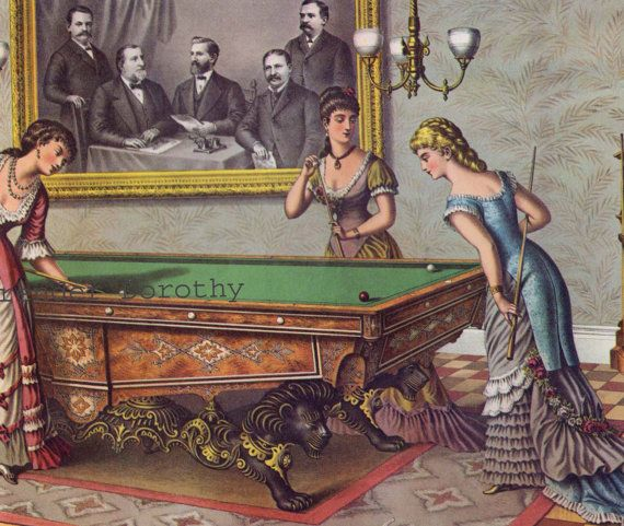 Brunswick Pool Table & Halstead Packers 1885 Victorian Era Advertisement Poster