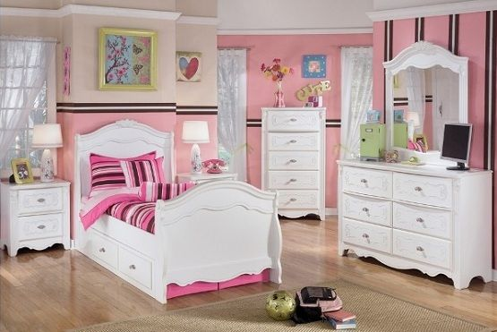 Bedroom, Endearing Ideas For Girls Bedroom Furniture Sets With Vanity Mirror And Nightstand Also White Cabinets Plus Pink Walls: Beautiful Decorating Ideas: Kids Bedroom Sets For Girls