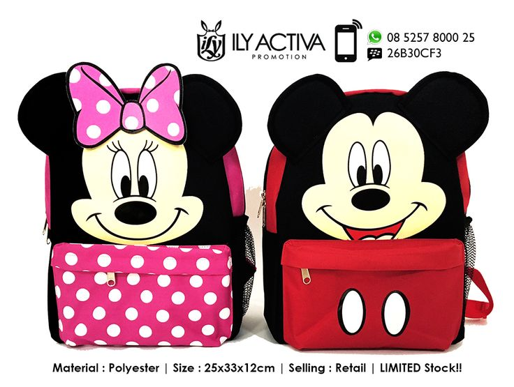 Mickey/Minnie Backpack Material : Polyester Size : 25x33x12cm Retail!!. PM if interested. Last Stock : 1pc each. Grab Fast!
