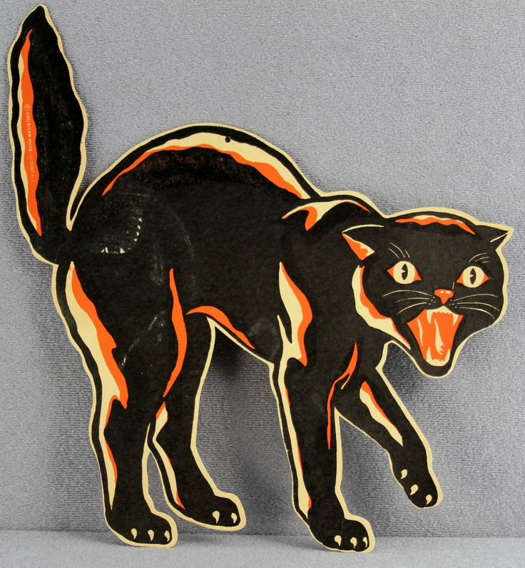 estate 482 vintage halloween die cut printed cardboard scaredy cat merri lei