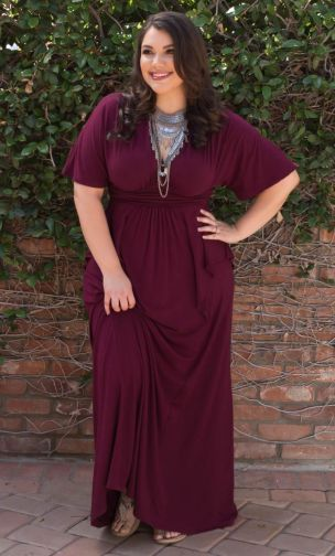 Plus Size Indie Flair Maxi Dress - Raspberry Wine at Curvalicious Clothes SAVE 15% Use code: SVE15
