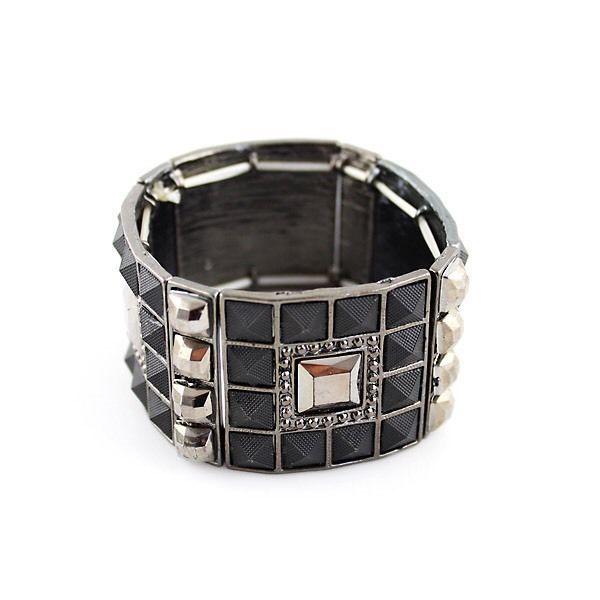 Black Studs & Rhinestone Bracelet, Women's Fashion Accessories