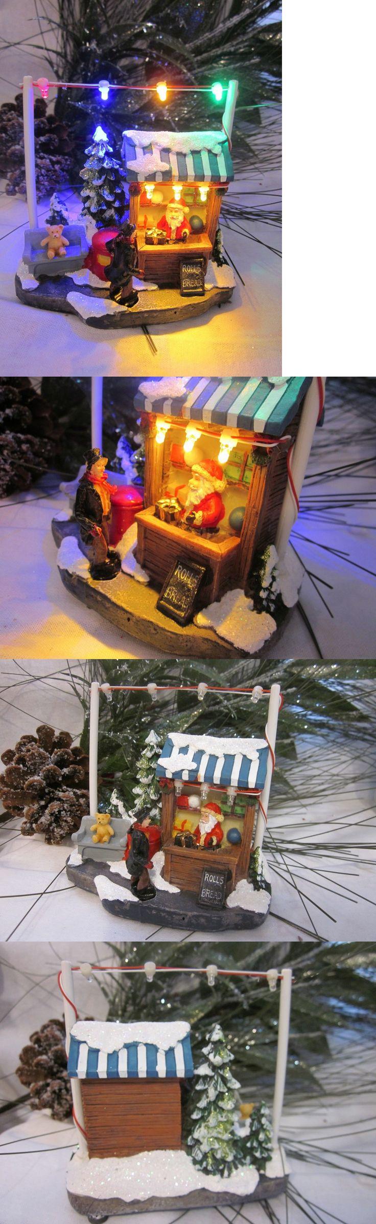 Flying santa fibre optic christmas decoration - Snow Globes 156890 Led Light Up Santa Bread Shop Figure Village Christmas Decor Statue