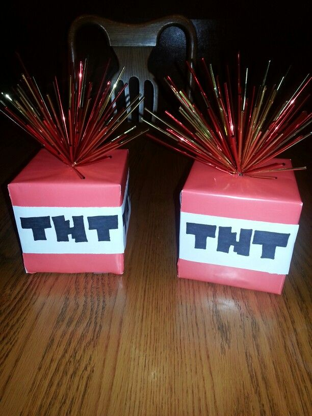 Made these for a minecraft birthday party. I got everything from Michaels Craft store. Used a plain box, covered with red wrapping paper. Drew TNT on computer paper. The top I found in seasonal section or near flowers. It's on a lil stick, just poked a hole thru top of box and all done