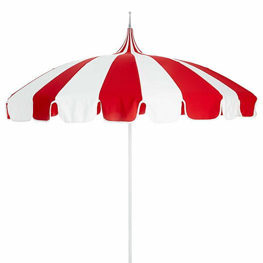California Umbrella Pagoda Patio Umbrella - Red/White