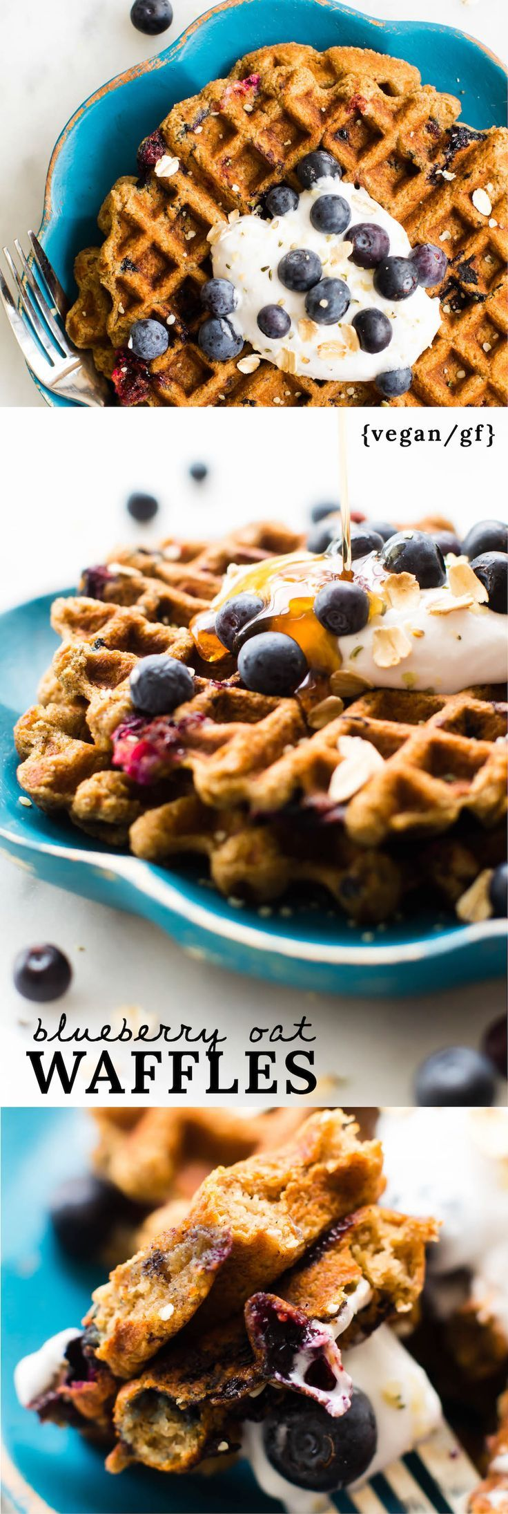 Blueberry Oat Flour Waffles {vegan, gluten-free, oil-free}