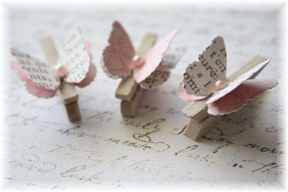 Alterado de ropa madera mini Pin mariposa adorno para Scrapbooking, Cardmaking, arte, texto