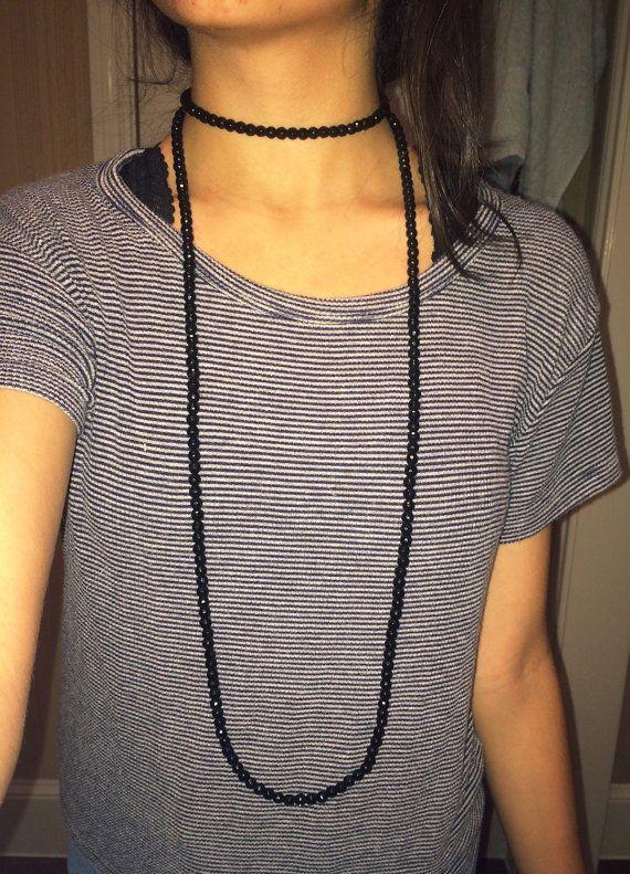 Long Beaded Double Wrap Necklace by hkjewlery on Etsy