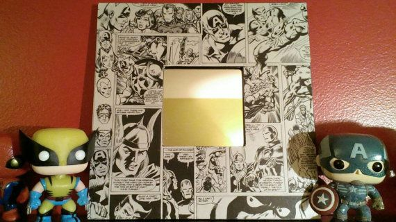 Small decorative mirror with Marvel Avengers vintage comic book ! Hangs in my living room with Captain America, Wolverine, Spider Man, Deadpool and all the other super heroes !!!