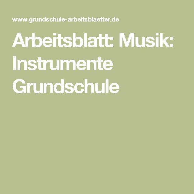 Arbeitsblatt: Musik: Instrumente Grundschule