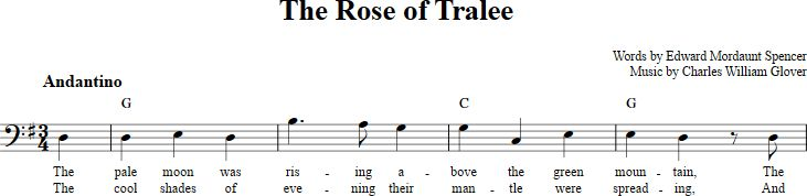 The Rose of Tralee sheet music with chords and lyrics for bass clef instruments including bassoon, cello, trombone, etc. View the whole song at http://chordzone.com/music/bass-clef/the-rose-of-tralee/