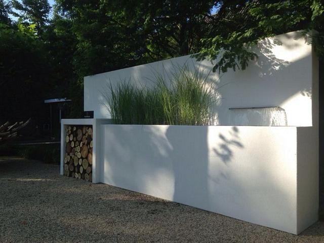 Platoflex maatwerk all-in-one piece met houtopslag, waterval en plantenbak