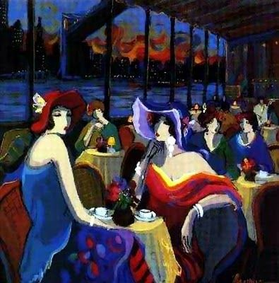 """CITY CAFES {1 of 4} -""""New York"""" (1994) by Isaac Maimon (Israeli)"""