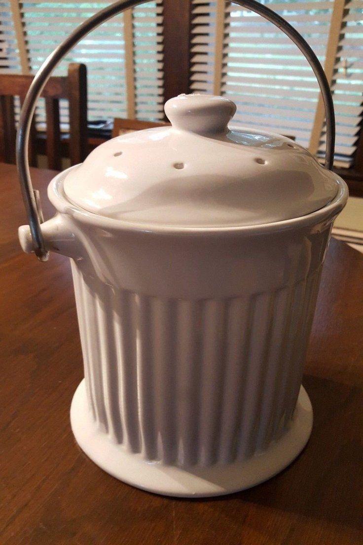 11 00 white ceramic compost bin bucket for kitchen countertop w rh pinterest it
